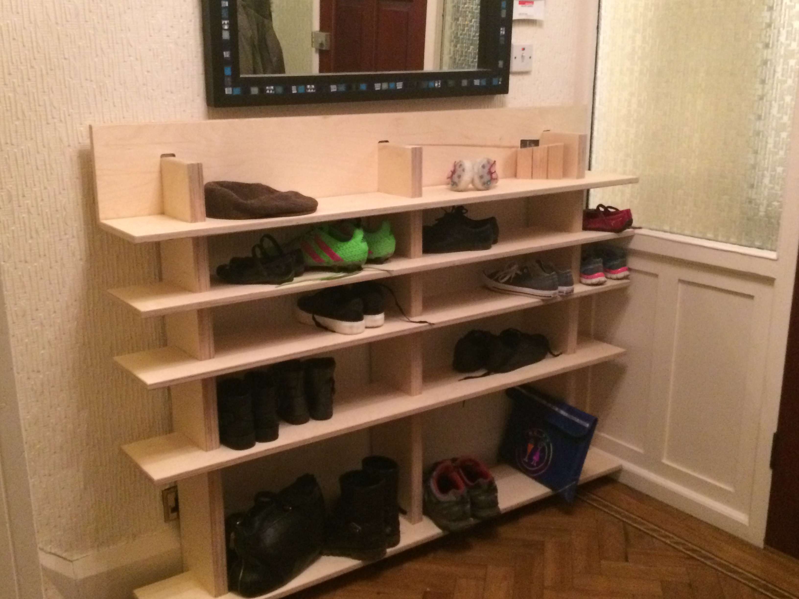 Slotted birch faced ply shoe rack