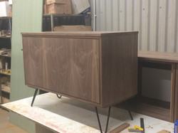 Walnut sideboard with hairpin legs