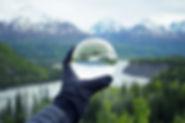 Nature réfléchissant sur le verre de cri