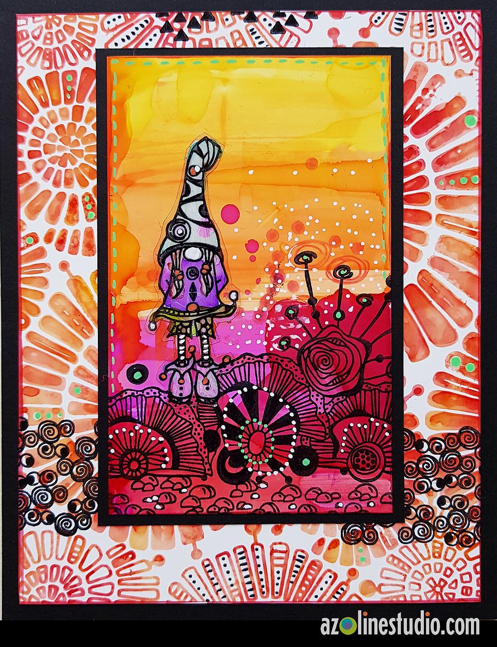 """Encres à alcool sur du Yupo. Le motif de fond est réalisé avec le Art'print """"Fantaisie spiralée"""""""