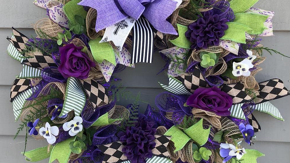 Purple Deco Mesh & Ribbon Wreath