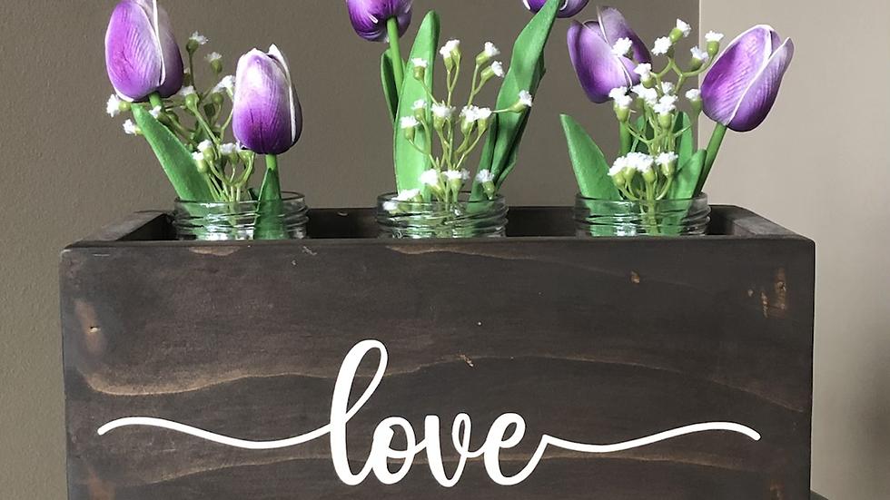 Rustic box of tulips