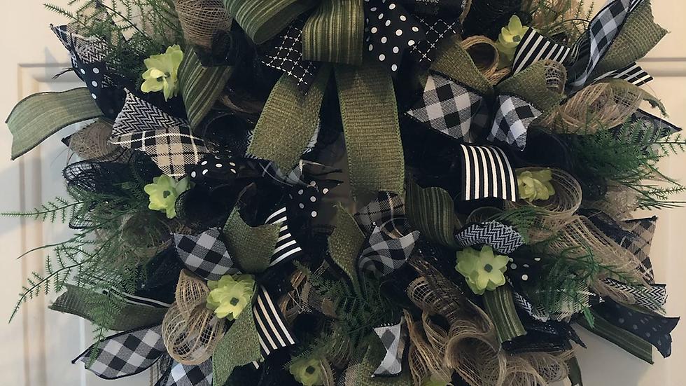 Green Deco Mesh & Ribbon Wreath