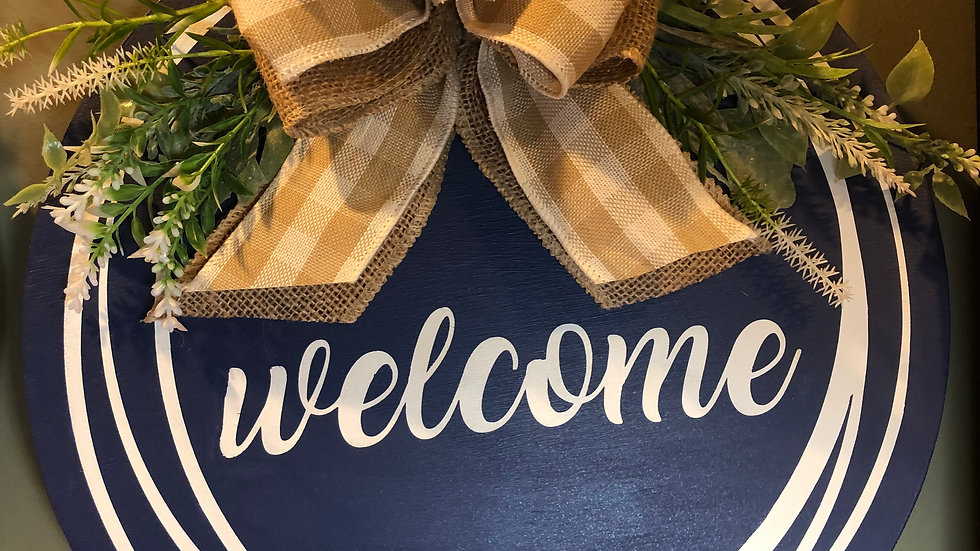 Welcome in circles hanging sign