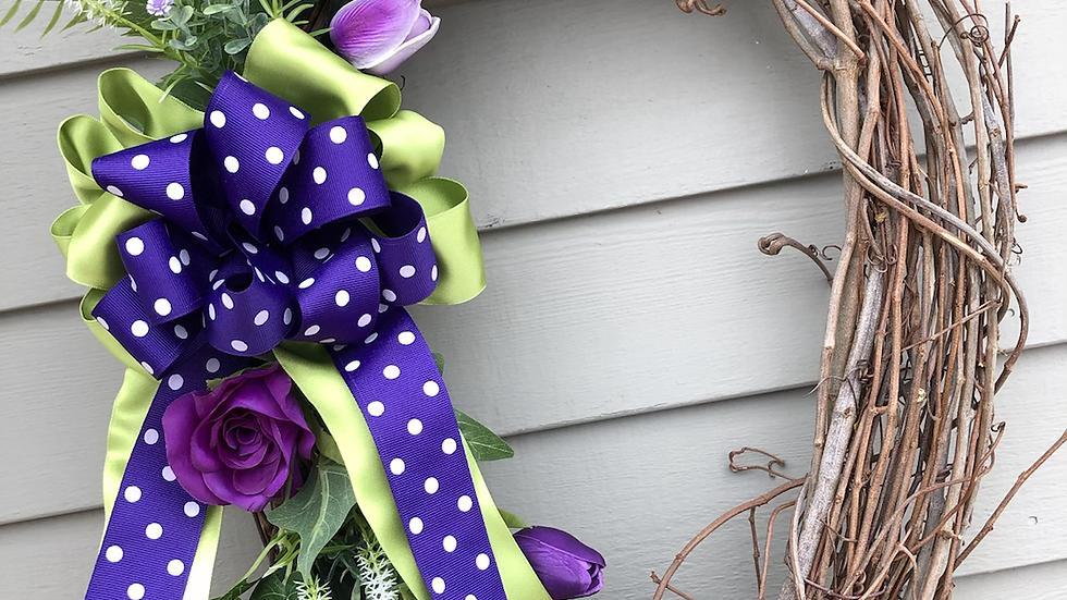 Purple rose & tulip grapevine wreath