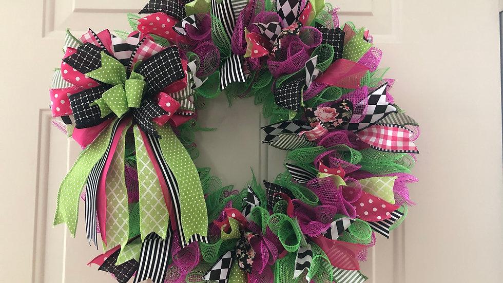 Whimsical Deco Mesh & Ribbon Wreath