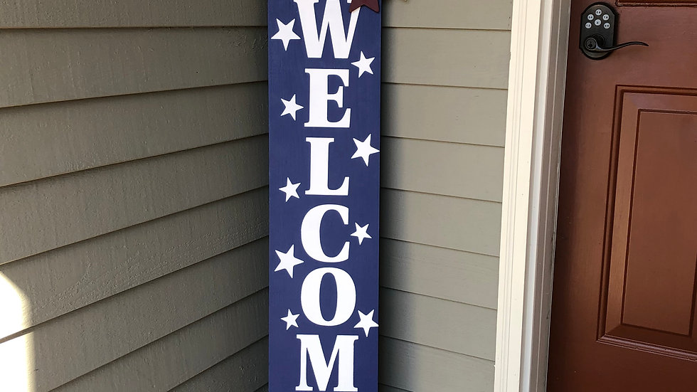 Patriotic Welcome porch sign