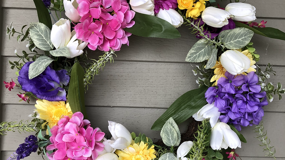 Flowers Everywhere Wreath (custom order)