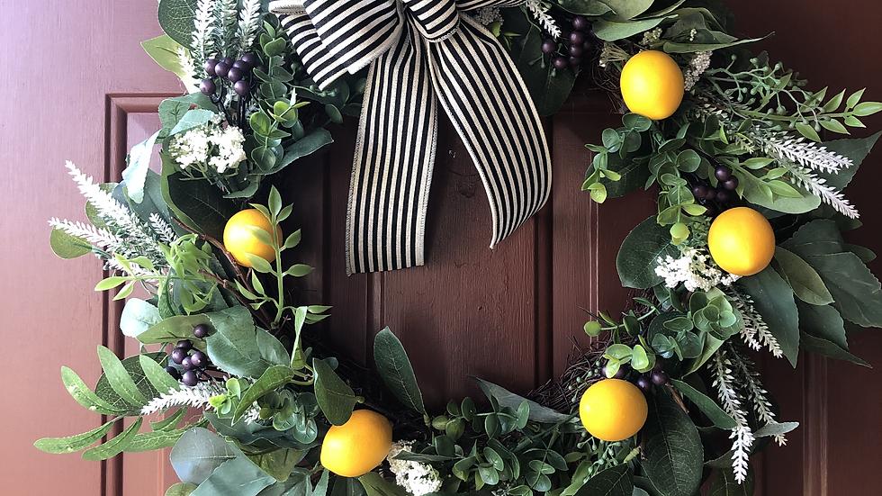 Lemon Wreath with Farmhouse bow