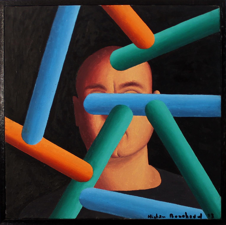 Hicham Benohoud, huite sur toile 30x30