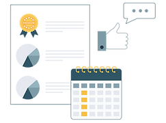 Illustration over dokument med udmærkelser, kalender og god feedback (thumbs up og tekstboks).