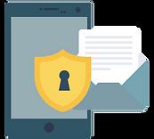 Illustration af lås, dokument og tablet - sikkerhedsplaner.