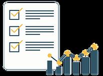 Illustration af checkliste og diagram der viser fremgang.