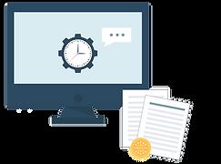 Illustration af computer, dokumenter, tandhjul og beskedboks. Rådgivning, anlægsdokumentation m.m