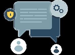Illustration af tekstbokskommunikation mellem to, sikkerhed og teknisk rådgivning.