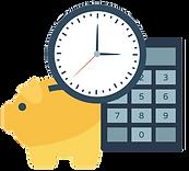 illustration af ressourcebesparelse: sparegris, lommeregner og ur.
