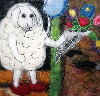 """Especially For Ewe"", hand felted merino wool, free machine stitched"