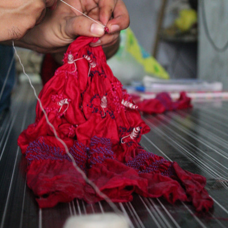 intricate tie & dye (bhandani) technique