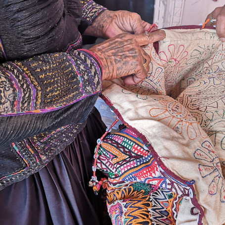 Handmade applique and embroidery by nomadic Rabari tribe of Kutch