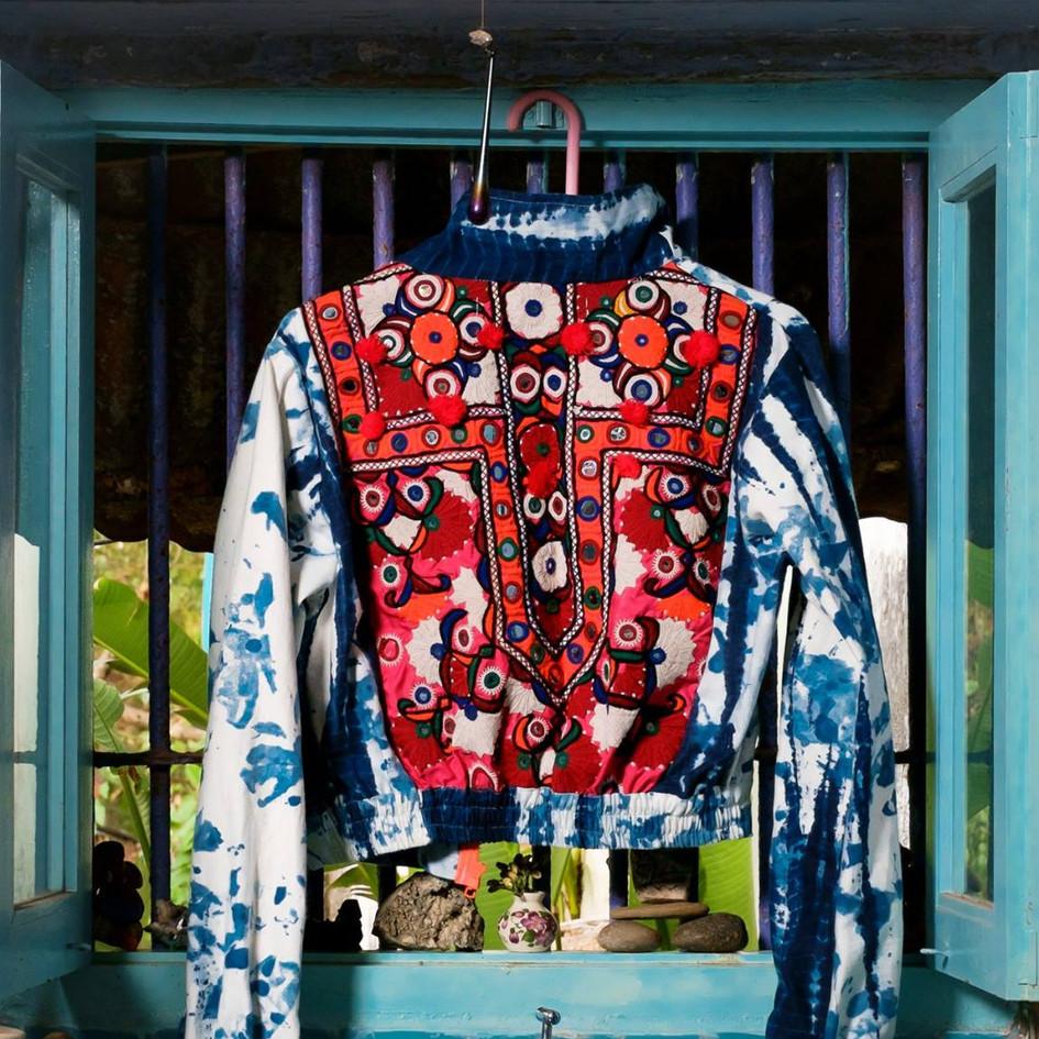 indigo dyed jacket with embroidery