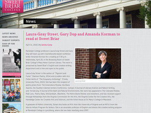 An April / Poetry Month reading at Sweet Briar College