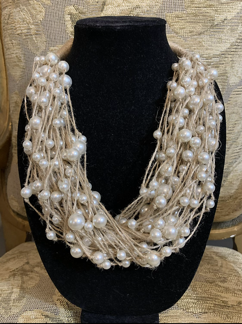 Pearls on Linen Necklace