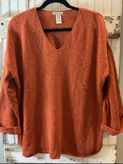 Cotton Slub Sweater w/ Roll-up Sleeve