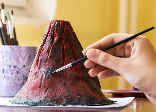 Clay model of volcano, school projects.j