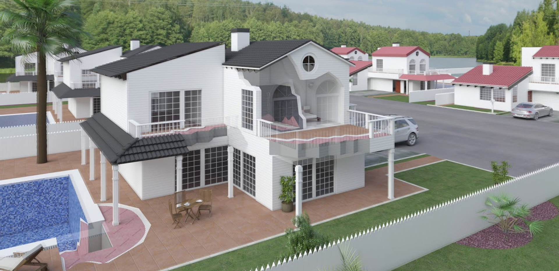General view of the waterproofing membrane WATER-STOP n a house