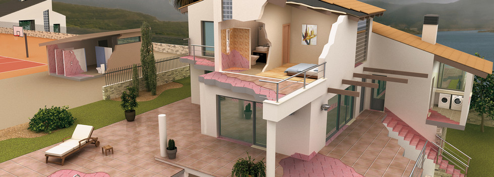 sectional view of the house with the WATER-STOP waterproofing membrane