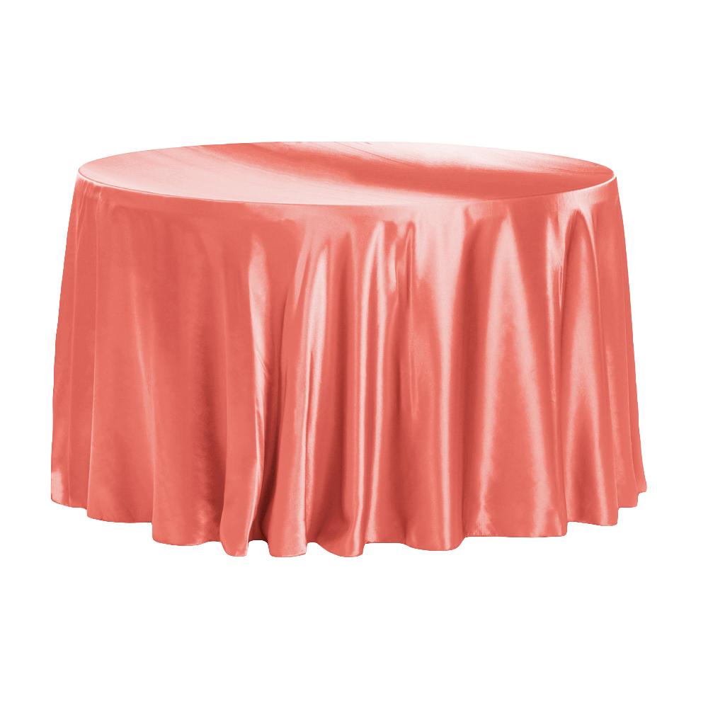 Coral Satin Tablecloth
