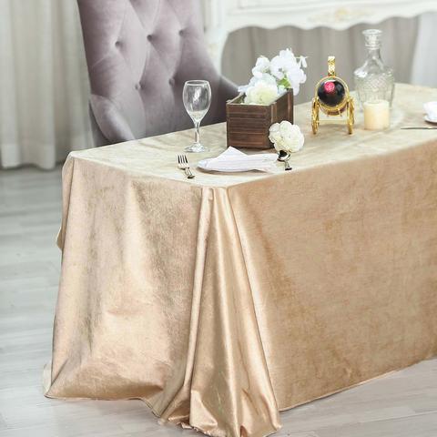 Champagne Premium Velvet Rectangle Table