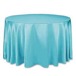 Turquoise Satin Tablecloth Round