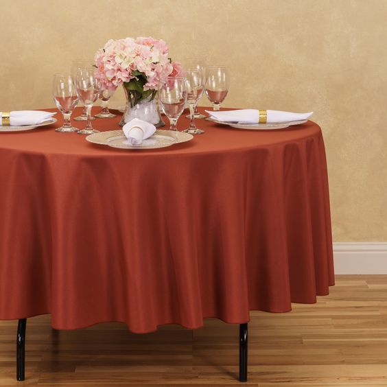 Round Polyester Tablecloth Copper