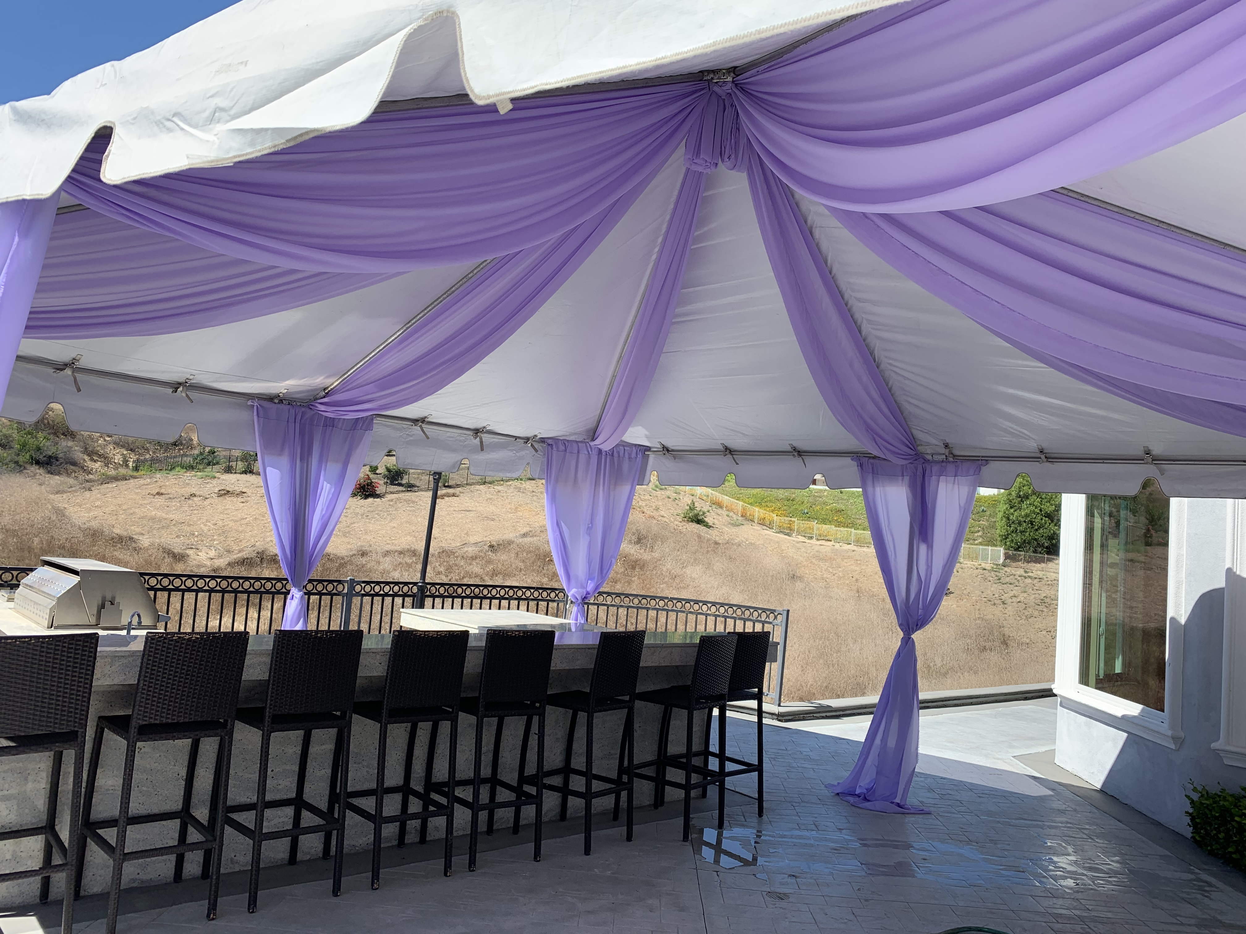 Canopy with Purple Design.