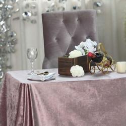 Dusty Rose Premium Velvet Rectangle Tabl
