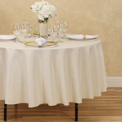 Round Polyester Tablecloth Ivory