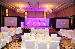 Corporate Event table setup with spandex