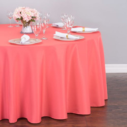Round Polyester Tablecloth Coral
