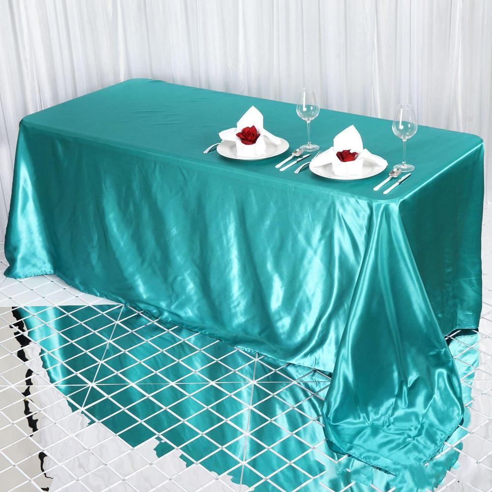 Turquoise Satin Tablecloth