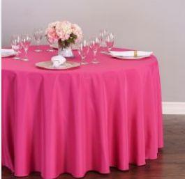 Round Polyester Tablecloth Fuchsia