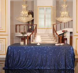 Navy Blue Sequin Tablecloth Rectangular.