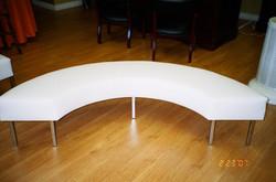 White Leather Serpentine Bench