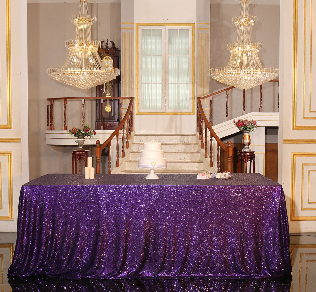 Purple Sequin Tablecloth Rectangular