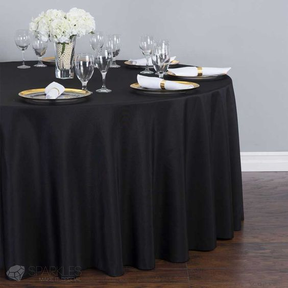 Round Polyester Tablecloth Black