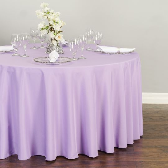 Round Polyester Tablecloth Lavender