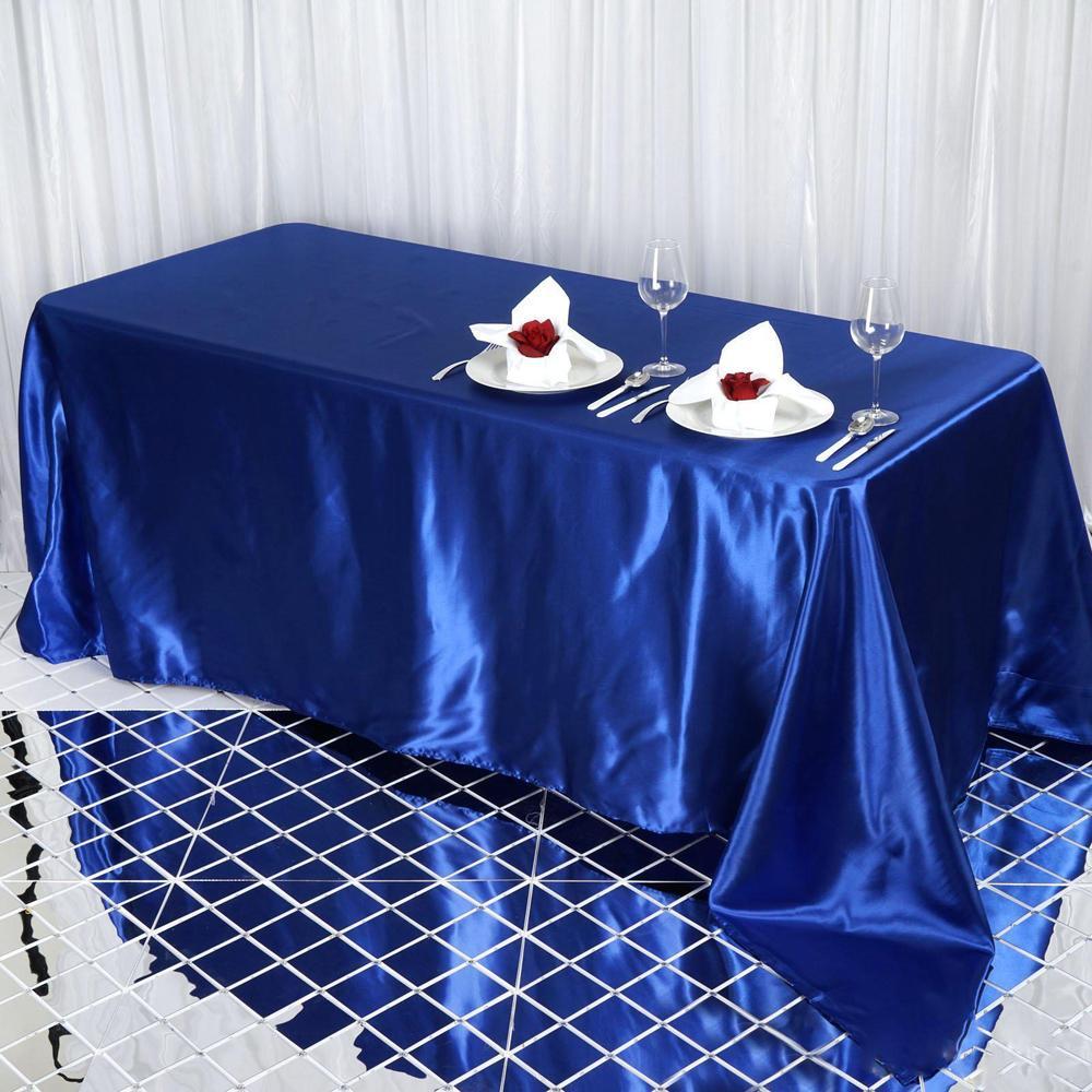 Royal Blue Satin Rectangular Tablecloth.