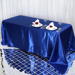 Royal Blue Satin Rectangular Tablecloth.