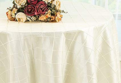 Pintuck Taffeta Tablecloth Ivory