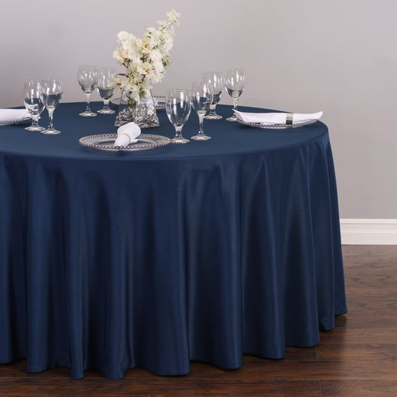 Round Polyester Tablecloth Navy Blue